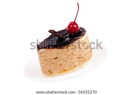 sweet and very tasty cake with cherry - stock photo