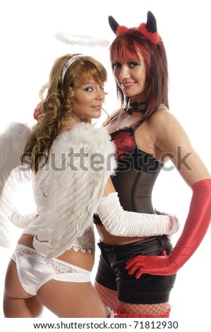 Sweet angel and devil girls, isolated on white background - stock photo