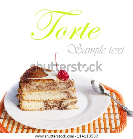 Sweet appetizing fresh torte - stock photo