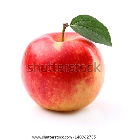 Sweet apple with leaf - stock photo