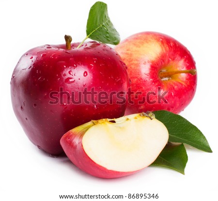 sweet apple with leaves on white - stock photo