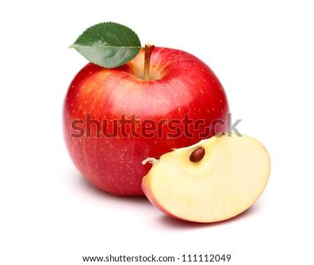 Sweet apple with slice - stock photo