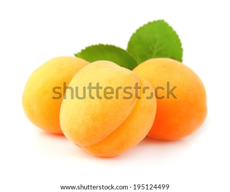 Sweet apricots fruits with leafs on white  - stock photo
