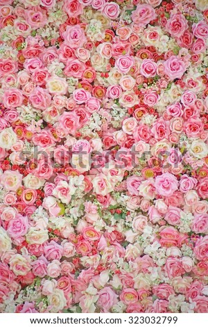 sweet artificial roses background - stock photo