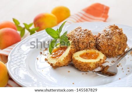 Sweet Austrian apricot dumplings - stock photo