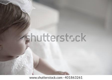Sweet baby girl . Baptism, Wedding & Fashion - stock photo