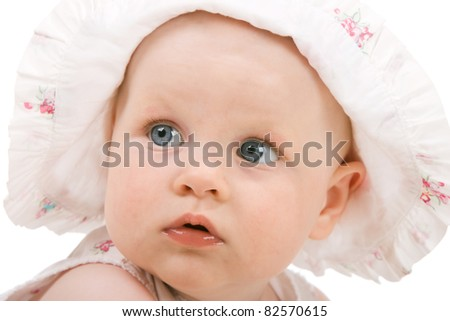 Sweet baby girl. Isolated over white background