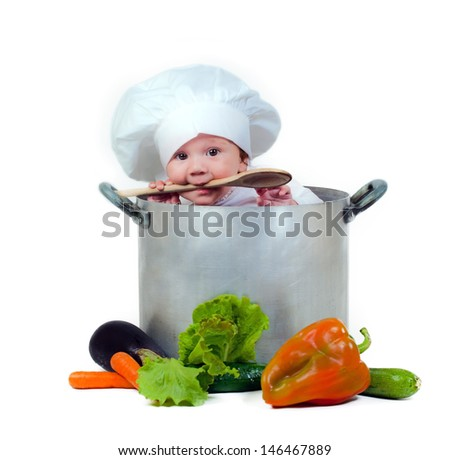 Sweet baby in a pot - stock photo