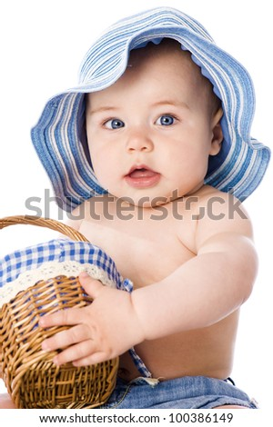 Sweet baby with hat - stock photo