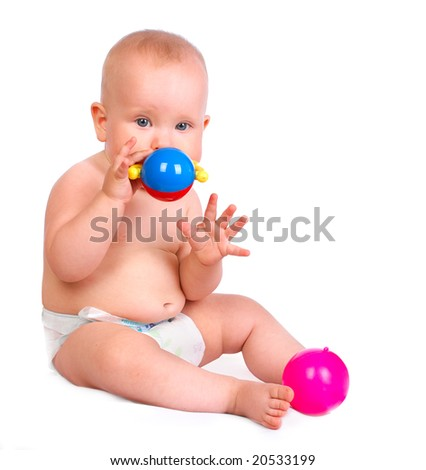 Sweet baby with toys. Isolated over white background