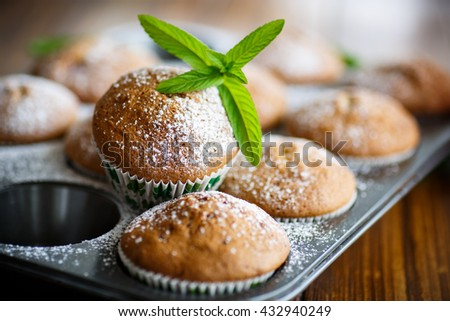 sweet baked muffins with jam inside - stock photo