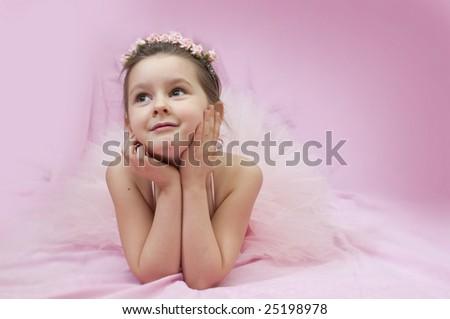 Sweet ballerina girl in pink - stock photo