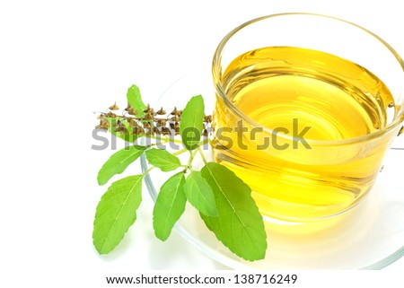 Sweet basil tea mix honey on white background