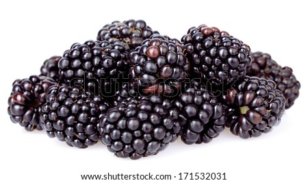 Sweet blackberries isolate on white - stock photo