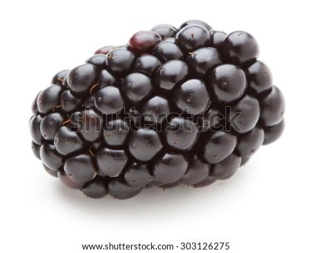 Sweet blackberries isolate on white - stock photo