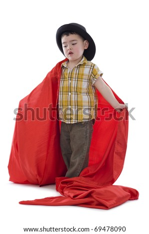 sweet boy with hat and red silk fabric, isolated on white - stock photo