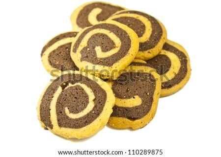 sweet brown cookie isolated on white background