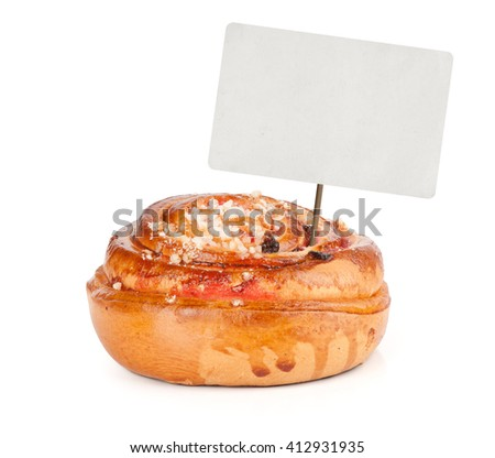 sweet bun with blank tag isolated on white - stock photo