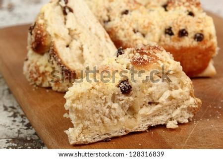 Sweet Bun with Raisins - stock photo