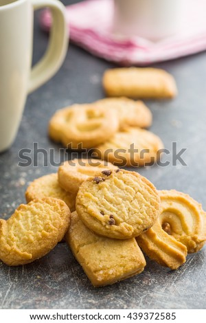 Sweet butter biscuits. Cookies on old kitchen table.