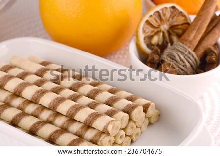 sweet cake, cinnamon and lemon  - stock photo