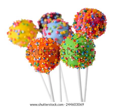 Sweet cake pops isolated on white - stock photo