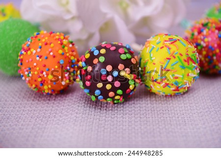 Sweet cake pops on table close-up - stock photo