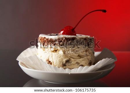 sweet cake with fruits - stock photo
