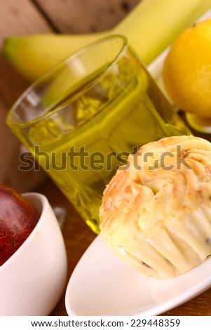 sweet cake with lemon and bananas - stock photo