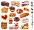 Sweet cakes collection isolated on white background - stock photo