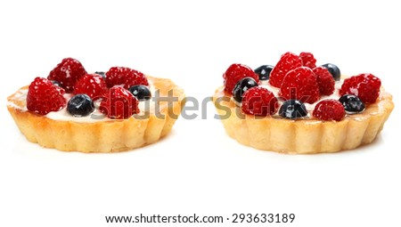 Sweet cakes with berries on white background