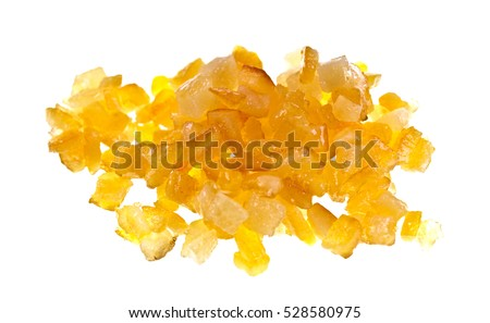 Sweet candied diced citrus peel isolated on a white background