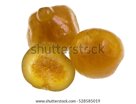 Sweet candied figs isolated on a white background. Figs grow on the Ficus tree (Ficus carica).