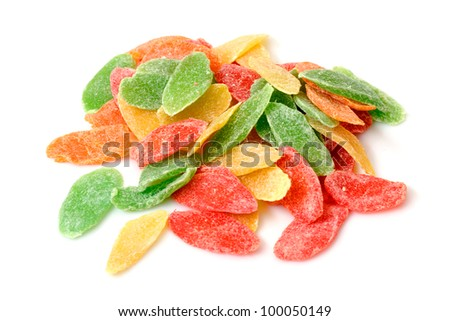 Sweet Candied Fruit isolated on a white background - stock photo