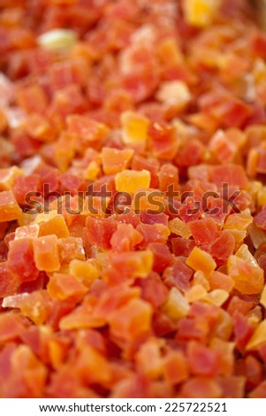 Sweet candied fruits as background  - stock photo