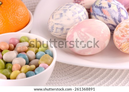 sweet candies and easter eggs - stock photo
