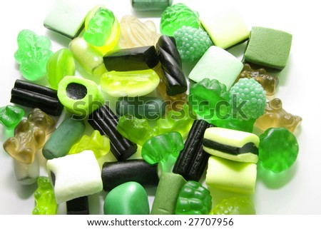 sweet candy gum background in green - stock photo