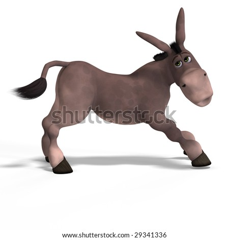 sweet cartoon donkey with pretty face over white and clipping Path - stock photo