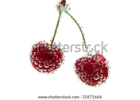 Sweet Cherries and Bubbles - stock photo