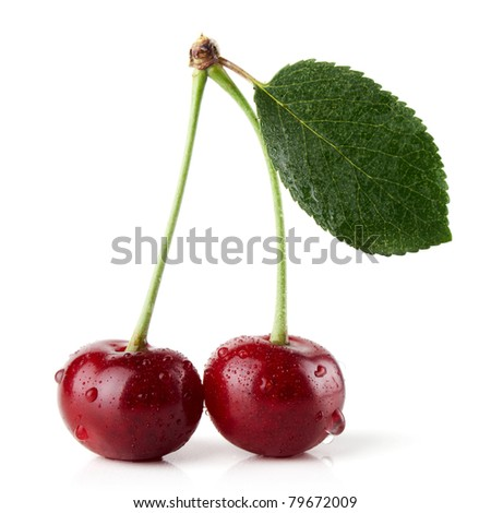 Sweet cherries and drops of water - stock photo