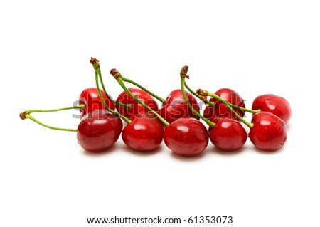 sweet cherries isolated on a white - stock photo