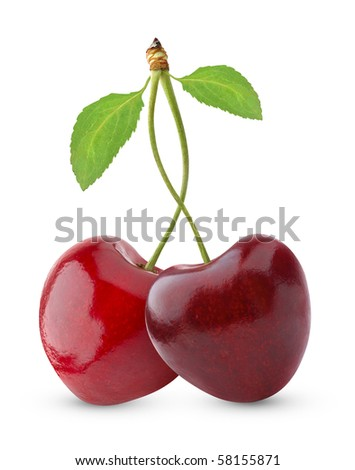 Sweet cherries isolated on white - stock photo