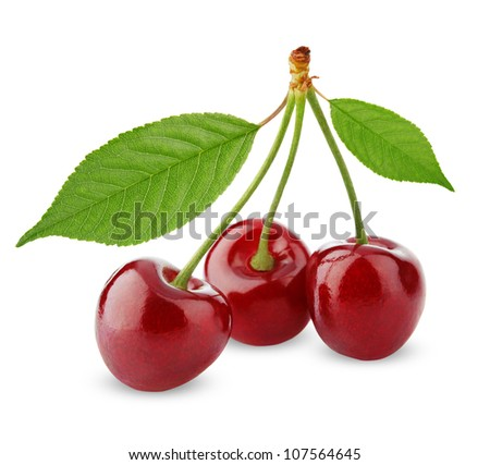 Sweet cherries with leaves isolated on white - stock photo