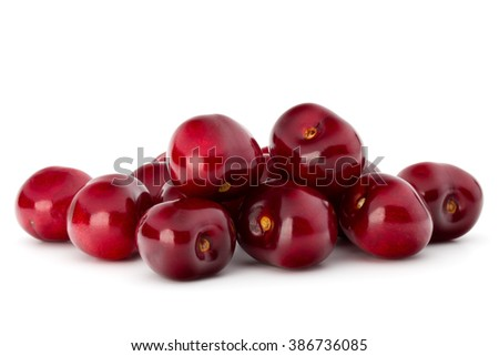 Sweet cherry berries isolated on white background cutout - stock photo