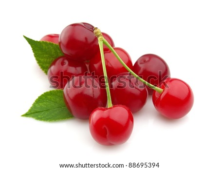 Sweet cherry closeup on white - stock photo