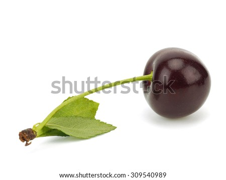 Sweet cherry on a white background - stock photo