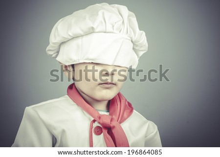sweet child dress funny chef, cooking utensils - stock photo