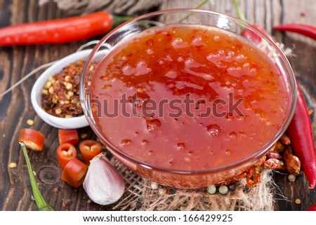 Sweet Chili Sauce (with spices) - stock photo