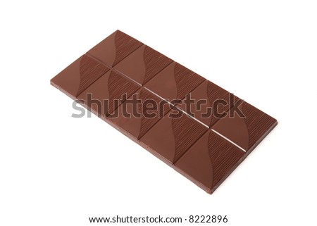 Sweet chocolate bar, isolated on white