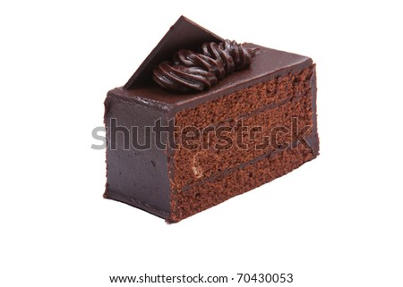 Sweet chocolate cake decorate with dark chocolate ship the image isolated on white - stock photo
